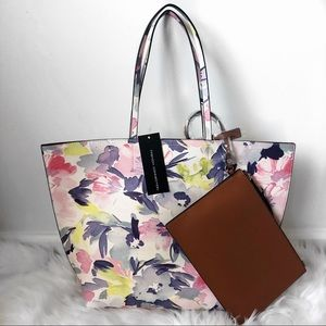 NWT French Connection James Tote Watercolor Floral
